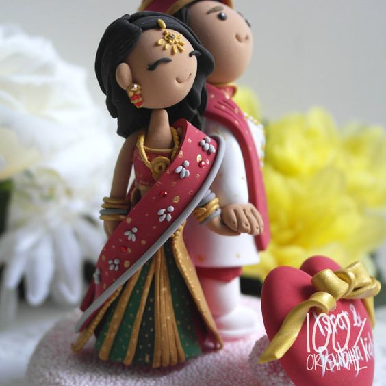 Custom Cake Topper Indian traditional by TheRosemarryToppers