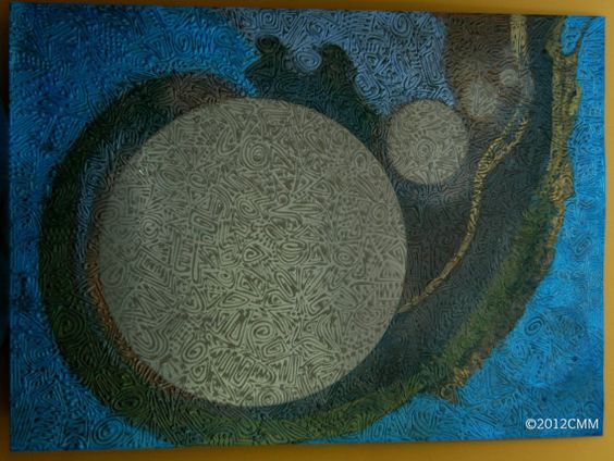 SPILL  Original Painted Textured Mixed Media by CMMorrisArtGallery, $399.00