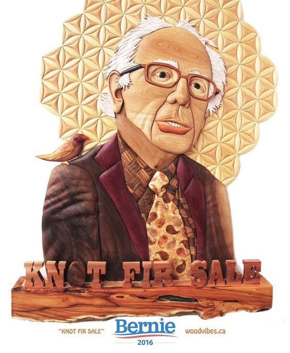 I have avoided American politics like the plague until Bernie Sanders came into the picture! Wood a guy! His passion for change met our passion for wood. #woodvibetribe #berniesanders #putabirdonit #intarsia #wood #woodworking #woodcarving #sacredgeometry #bernie2016 #feelthebern #woodvibes by bradrhadwood