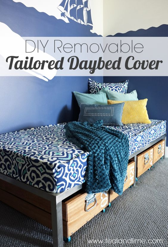 Diy Removable Book Cover : Diy removable tailored daybed cover a favorite fabric