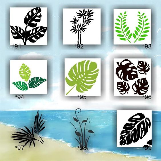 TROPICAL LEAVES vinyl decals - 91-99 - vinyl stickers - palm tree leaf…