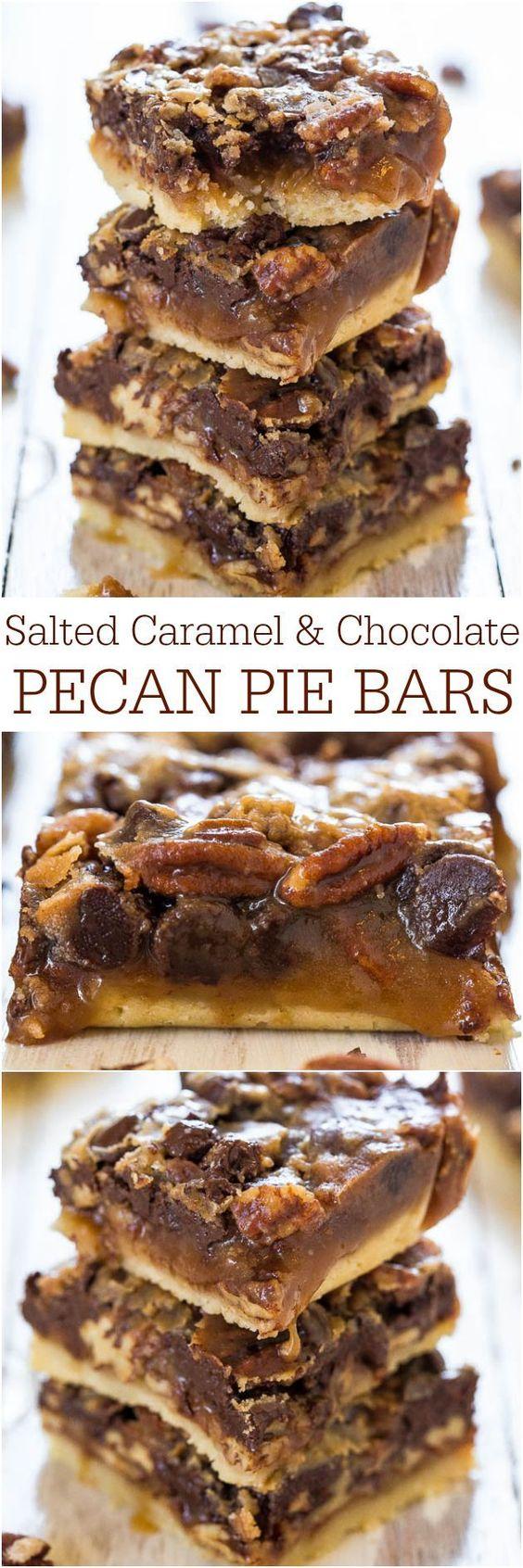 Caramel and Chocolate Pecan Pie Bars   Chocolate Pecan Pies, Pecan ...