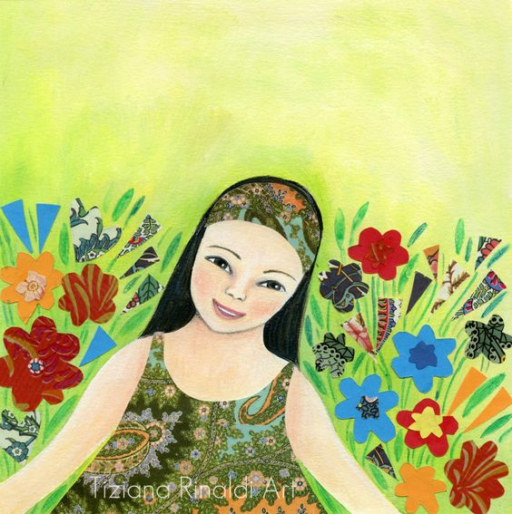 La nostra piccola Grande Giada Imperiale - original illustration for the book cover - by Tiziana Rinaldi - #art #painting #China #girl #garden #green #illustration
