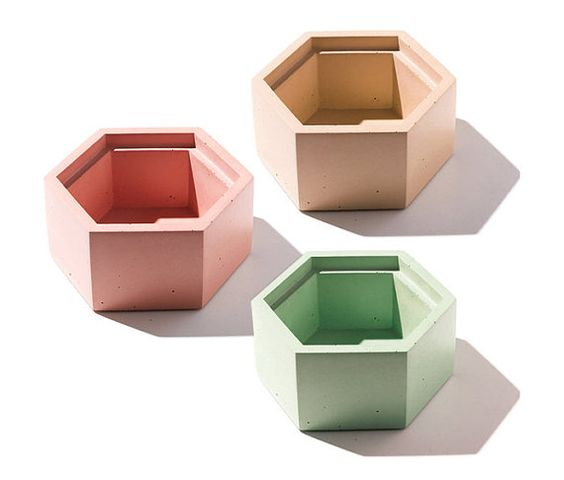 Hexagon Concrete Box with wood lid / Minimalist by INSEKDESIGN