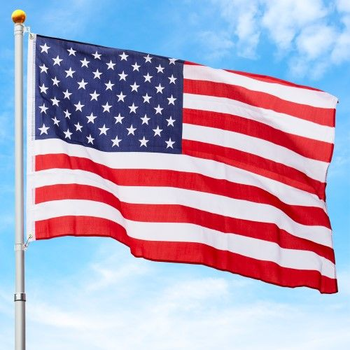 Best Choice Products 16ft Telescopic Aluminum Flagpole W American Flag And Gold Ball Multicolor American Flag Flag American Flags Flying