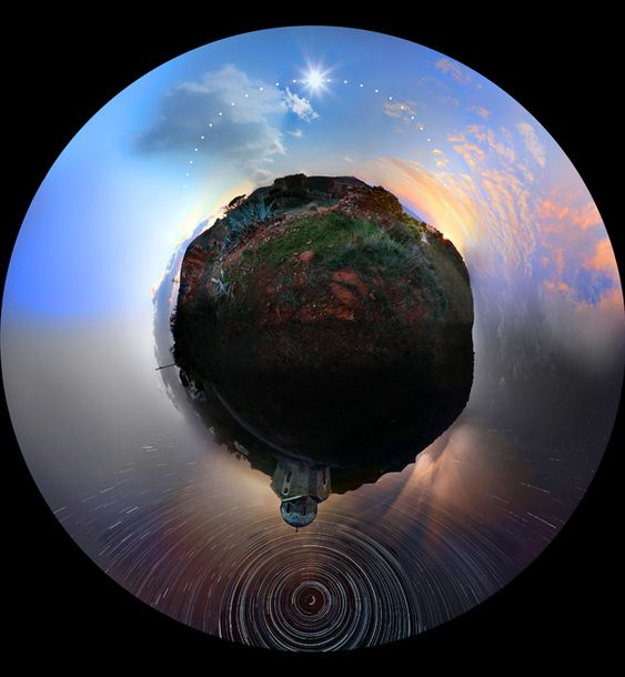 24 Hours of Photographs Merged into a Single Panoramic Image // This amazing panoramic photograph (known as a stereographic projection) was recently captured by Greek photographer Chris Kotsiopoloulos during a mammoth 30-hour photo shoot in Sounio, Greece. The image is comprised of hundreds of photographs shot from daytime to nighttime that have been digitally stitched together to represent an entire rotation of the Earth.