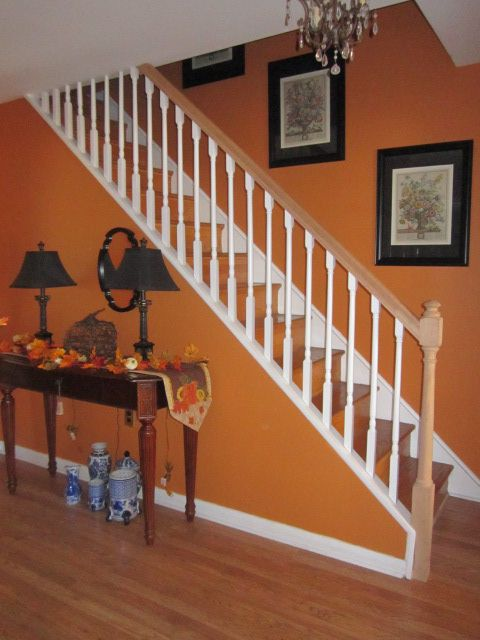 Love my foyer such a great color pumpkin spice 2013 for Pumpkin spice paint living room