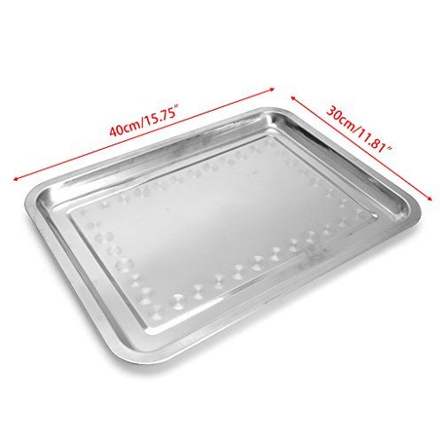 Doiber 1pc Durable And Thick Stainless Steel Rectangular Plate Barbecue Grilled Fish Tray Bbq Food Container Bbq Recipes Barbecue Grill Grilled Fish