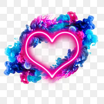 Neon Heart With Blue Pink Gradient Smoke Neon Png Pretty Wallpapers Png Images For Editing