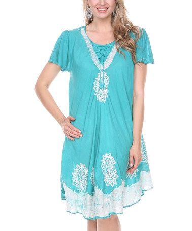 Look what I found on #zulily! Mint Embroidered Lace-Front Shift Dress - Women by Ananda's Collection #zulilyfinds