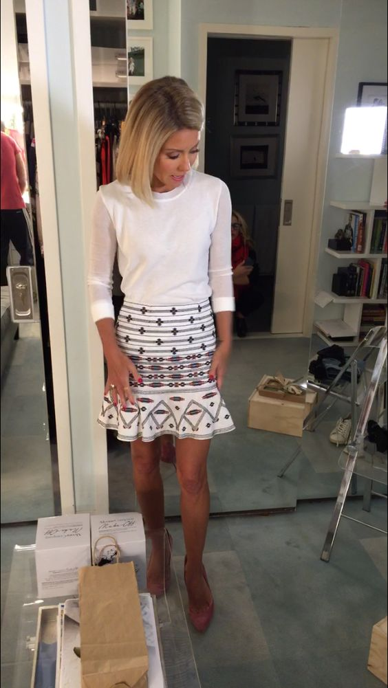 Kelly Ripa in a J. Crew top & Twelfth Street by Cynthia Vincent skirt from Intermix. Kelly's Fashion Finder