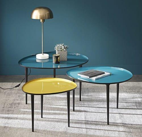 Tables Gigognes En Metal Laque Bleu Et Jaune Galet Maisons Du Monde Tables Gigognes Table Basse Gigogne Maison Du Monde Meuble Salle A Manger