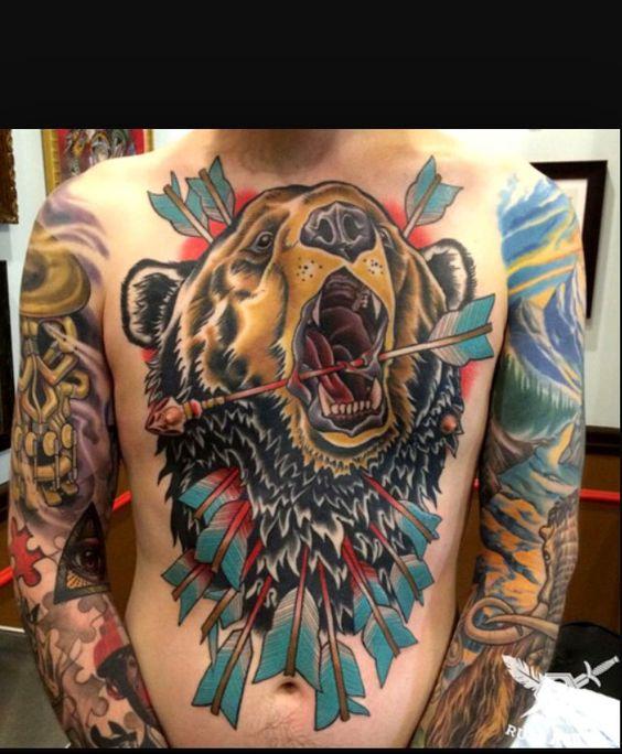 Pinterest the world s catalog of ideas for Bear chest tattoo