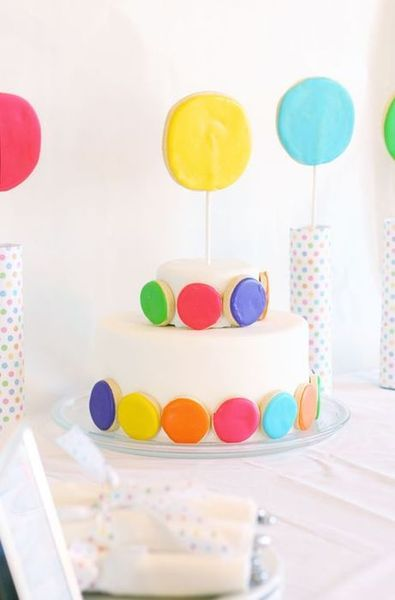 Polka Dot Party - I would use colored French macaroons