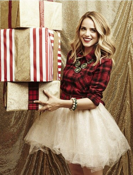 Love love love the flannel shirt & tulle skirt for a Holiday party, or Christmas Card pictures! The necklace is also to die for, The Emerald City 31Bits love this necklace!!