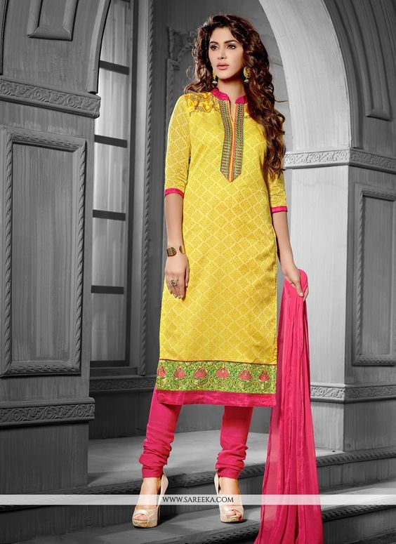 Style and pattern would be at the peak of your splendor when you attire this yellow chanderi cotton churidar salwar kameez. The lovely embroidered and lace work throughout the dress is awe inspiring. ...