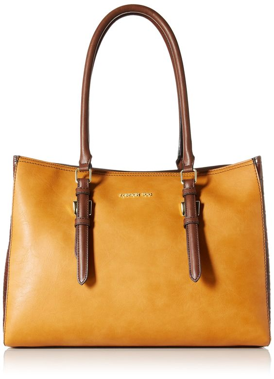 London Fog Layla Two-Tone Tote Shoulder Bag, Amber, One Size