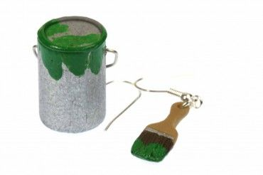 Farbeimer Pinsel Set Ohrringe Farbe Lack Miniblings Maler Künstler Malerset grün – Bild 1