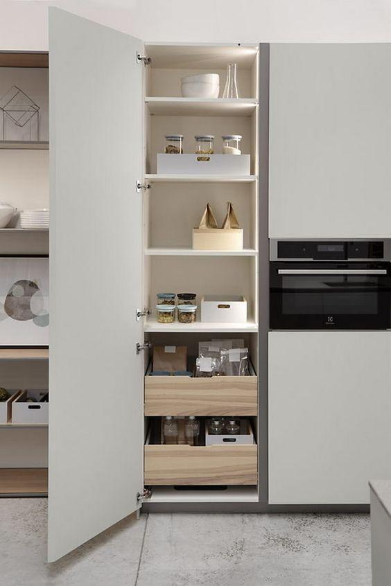 Muebles de cocina con cajones extraíbles. Muebles de cocina funcionales. #mueblesdecocina #orden