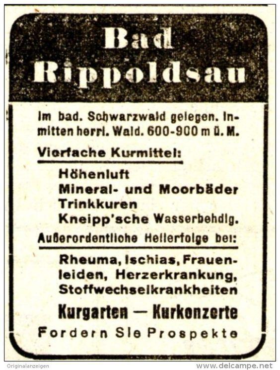 Original-Werbung/Anzeige 1938 - BAD RIPPOLDSAU - ca. 45 x 60 mm