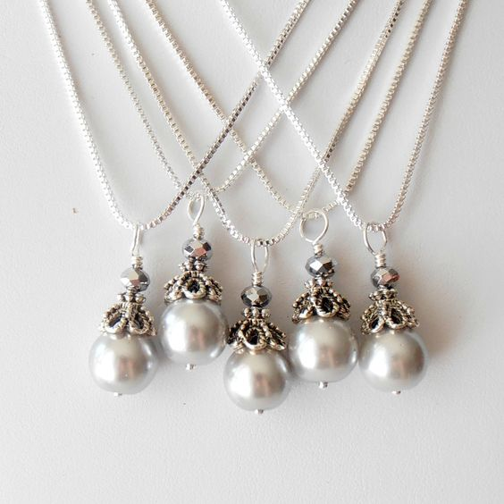 Wedding Jewelry Bridesmaid Necklaces Bridesmaid Jewelry Gray Pearl Pendant in Antiqued Silver Beaded Pendant Bridesmaid Gift.
