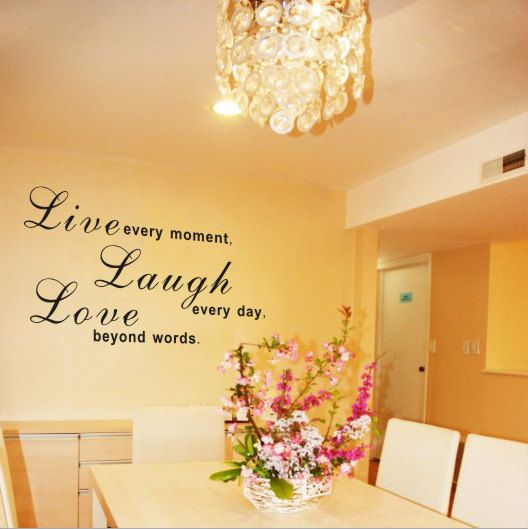 Live laugh love wall decal quotes and love wall on pinterest for Living room decor quotes
