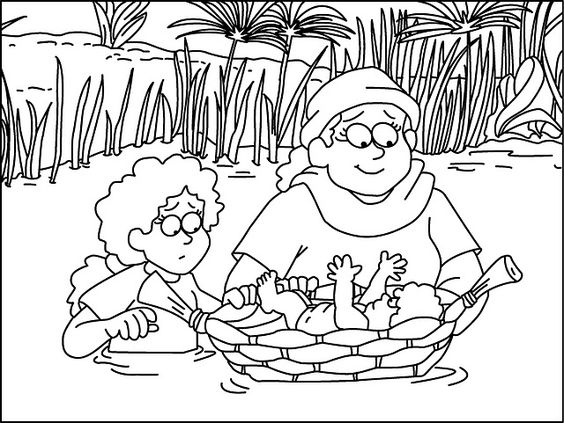 La vie de Moïse - coloriages et textes - Levangelisation (section Enfants)