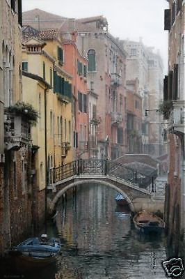 The Mists Of The Morning by Rod Chase Venice Italy Canals SN LE 24x36 On Canvas #Realism