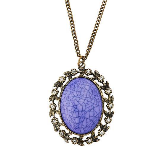 Antique Gold Floral Rhinestone Purple Neckalce,US$9.66-VogueBeauty