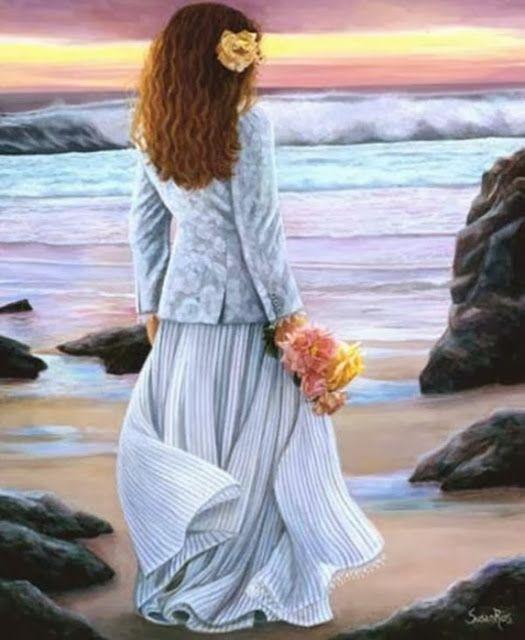 Princesa Nadie Mirando Al Mar Retrato Femenino Pinturas Hermosas Mujer En La Playa