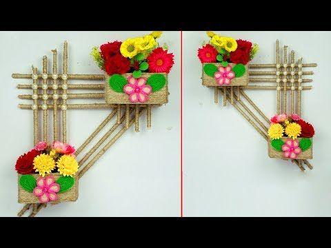 Jute Wall Hanging Flower Vase Jute Crafts Popcycle Stick Crafts Diy Wall Hanging Flower