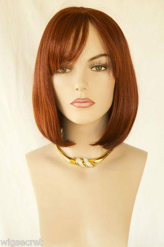 Straight Bob With Bangs Medium Blonde Brunette Straight Wavy Skin Top Wigs | eBay