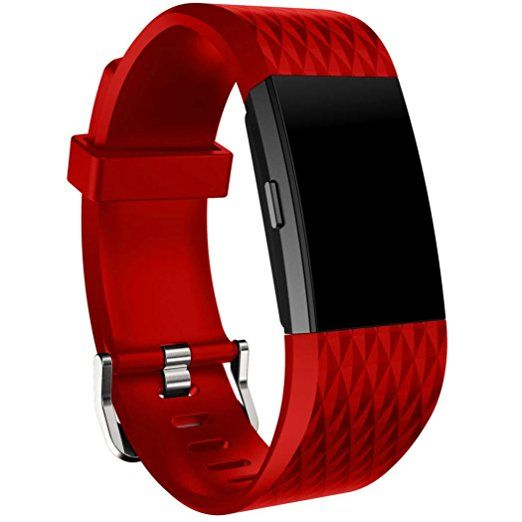 For Fitbit Charge 2,Sunfei New Fashion Sports Silicone Bracelet Strap Band (Red)
