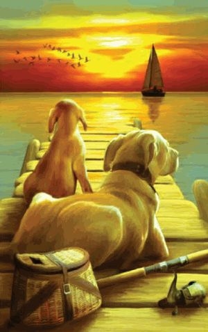 "Yellow Labradors Dockside Sunset 550 piece Jigsaw Puzzle    SunsOut Jigsaw Puzzles will provide a challenge for one and all.    Perfect for collectors to mat and frame.    Art by Tom Wood    Size: 15"" x 24""    Made in the USA, by SunsOut.    Eco-Friendly, Soy Based Inks & Recycled Board.    Recommended Ages: 8 and Up    Consumer Product Safety Notice:  WARNING: CHOKING HAZARD  Small parts Not for children under 3 years SO28679  Regular price: $12.00  Sale price: $10.80"