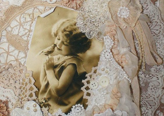 Shabby Chic Lace Collage Wall Hanging
