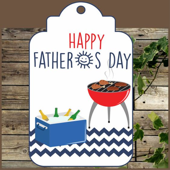 BBQ Fathers Day gift Tag, Instant Download, Fathers Day Label