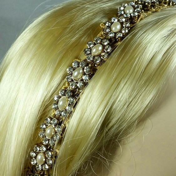 Our lovely new crystal and pearl headband.  Handmade and excellent quality.