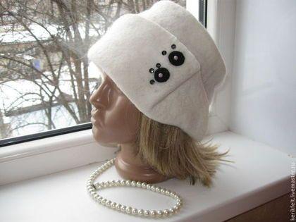 """Войлочная шляпка """"Снег"""" - белый,однотонный,шляпка женская,войлок,головные уборы"""