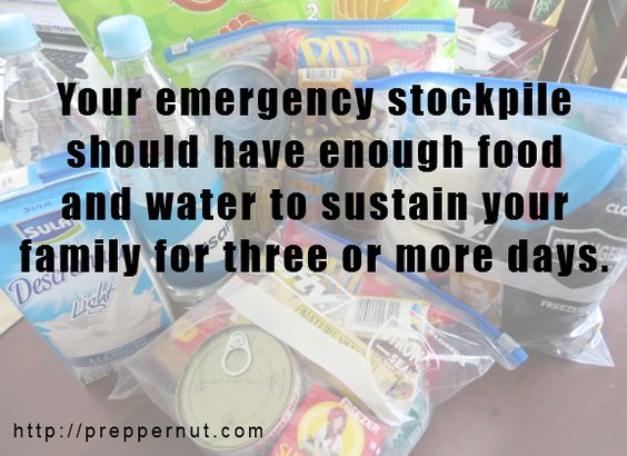 Tips on building a three-day emergency supply of food and water for your family.