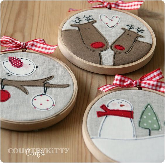 """Embroidery Hoop Ornaments. This year we're having an """"everything on this tree is handmade"""" tree with white lights. It's going to be beautiful!"""