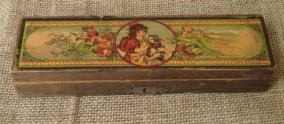 Vintage Calligraphy DIP Pen Germany Primitive Wood Box Child Lamb Label | eBay