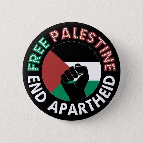 Free Palestine End Apartheid Flag Fist Black Button Zazzle Com Palestine Custom Buttons Palestine Flag