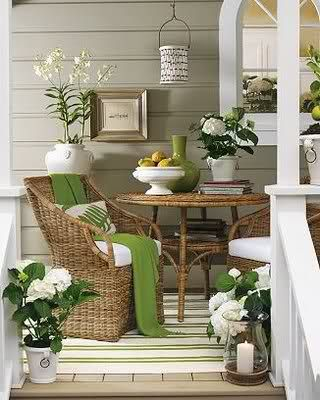 Great porch ~ love colors, furniture.