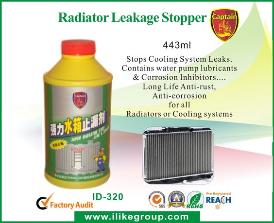 Radiator-Leakage-Stopper-car care products supplier-iLike Fine Chemical Captain Radiator Leakage Stopper is formulated with natural vegetable fiber, hardener, anti-rust agents, and anti-foam agent. It can promptly stop the leakage in cooling system. The natural fire will not clog the channels of radiator, but completely clear away the scum and rust in the cooling system without harm to other parts. This product is compatible with any kind of anti-freeze fluid.