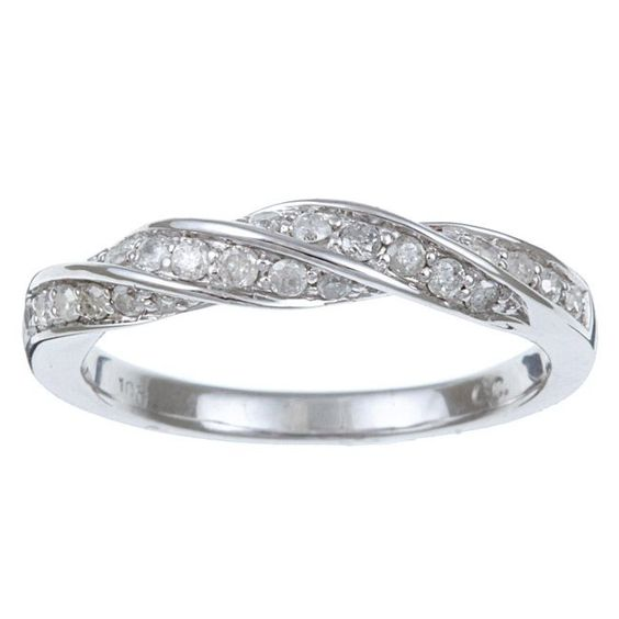 braided ring white gold and diamonds on