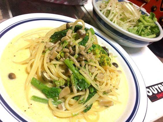 以前、SKYサンが豆乳+バター+めんつゆ+大葉&ネギは応用効くソースと言うてはったし✨ - 111件のもぐもぐ - 菜の花とシメジの豆乳パスタ、大根サラダ by torakichi6