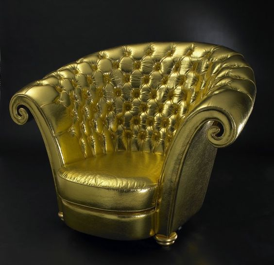 Luxury Button Tufted Swirl Gold Armchair