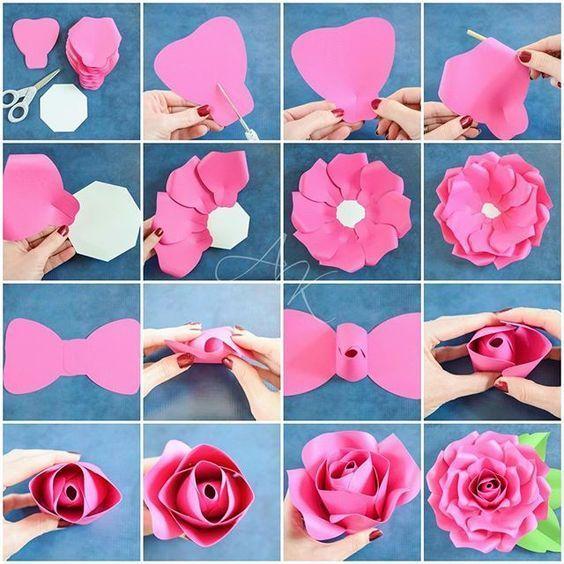 Tutorial Making Paper Flowers Paper Flower Tutorial Big Paper