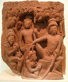 Ahalya offering fruits and flowers to Rama - her saviour, a 5th century AD Stone sculpture from Deogah, currently in the National Museum, New Delhi