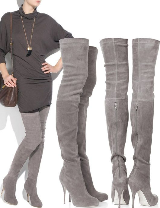 Grey Suede Thigh High Boots High Heel Platform | body candy ...